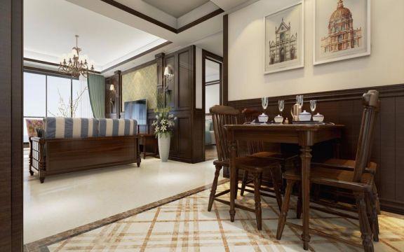 餐厅米色背景墙美式风格装饰图片