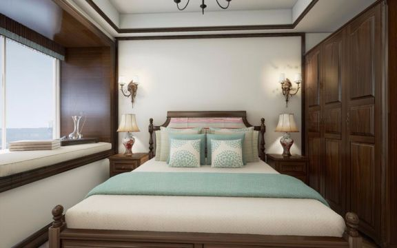 卧室米色飘窗美式风格装潢图片