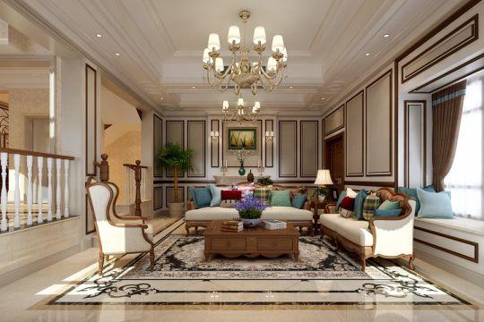 中海原山别墅400平方美式风格别墅装修效果图