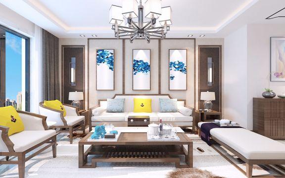 客厅背景墙现代中式风格装潢设计图片