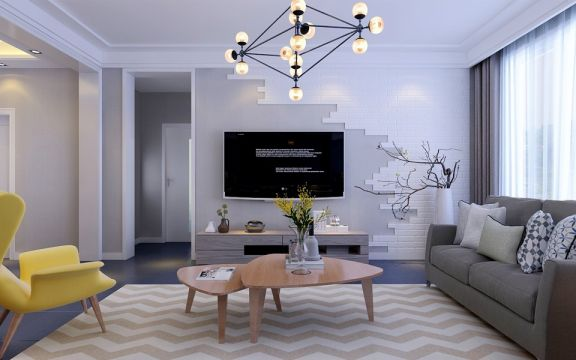 2018北欧客厅装修设计 2018北欧茶几效果图