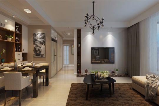 2021现代简约90平米效果图 2021现代简约三居室装修设计图片