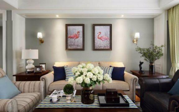 客厅白色茶几美式风格装修图片