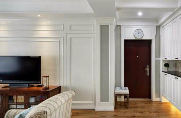 玄关咖啡色门厅美式风格装饰图片