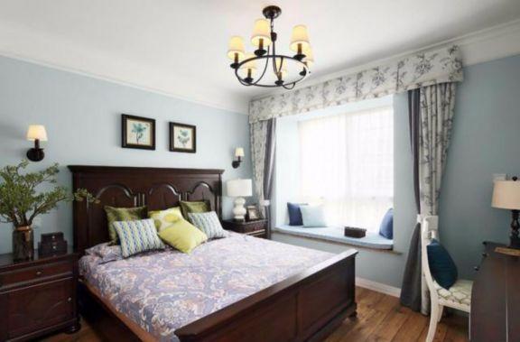 卧室白色床美式风格装修设计图片