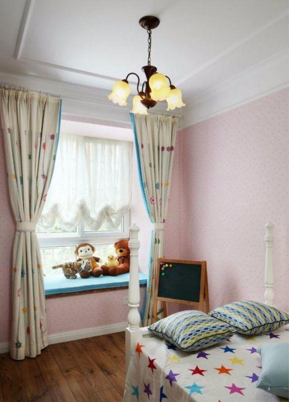 儿童房橙色飘窗美式风格装饰设计图片