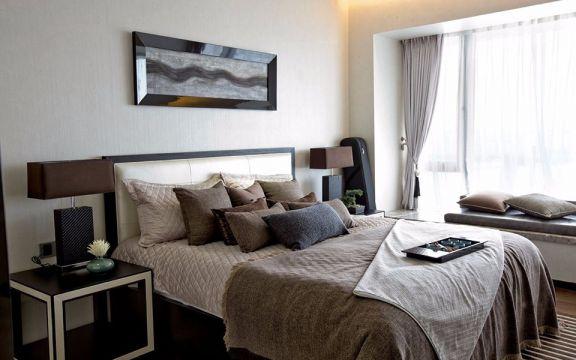 卧室白色飘窗现代简约风格装潢效果图