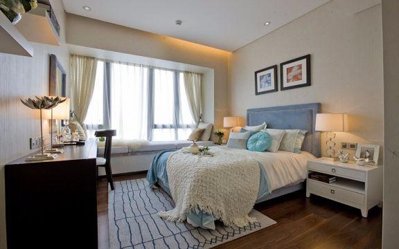 卧室白色背景墙现代简约风格装修图片