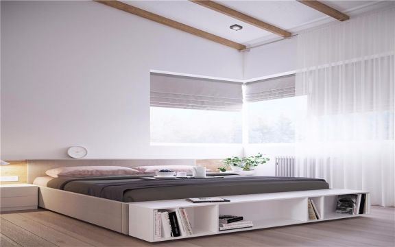 卧室白色窗帘现代简约风格装饰设计图片