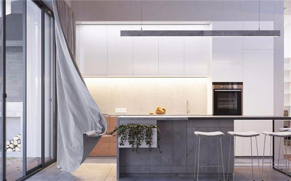 厨房灰色吧台现代简约风格装潢设计图片