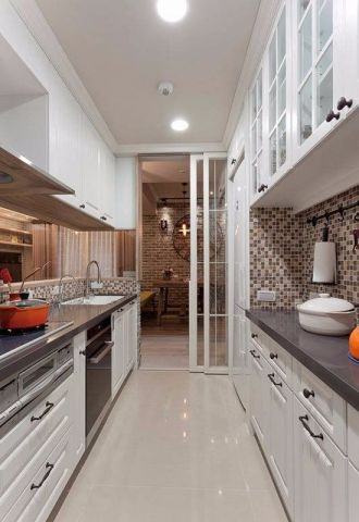 厨房白色厨房岛台美式风格装潢效果图
