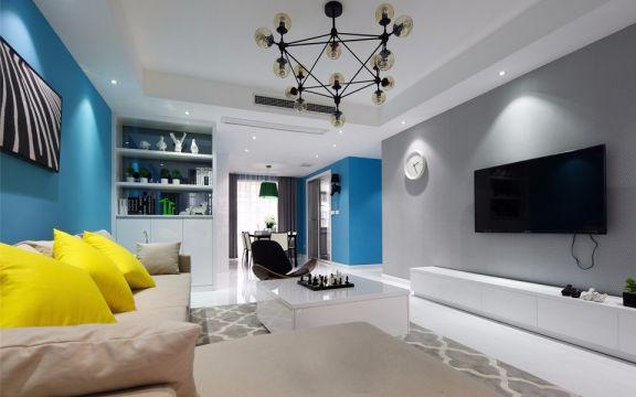 客厅白色电视柜现代风格装潢图片