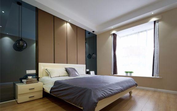 卧室米色飘窗现代风格装修设计图片