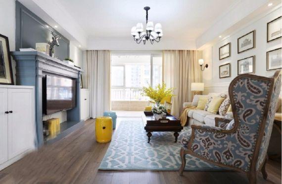 客厅彩色沙发美式风格装修设计图片