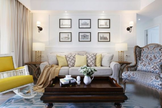 客厅彩色背景墙美式风格装饰设计图片