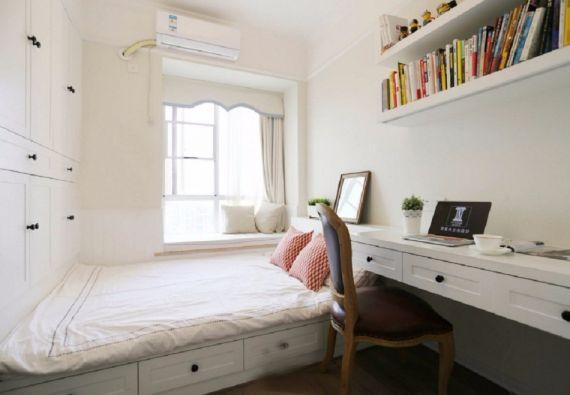 书房白色榻榻米美式风格装潢效果图