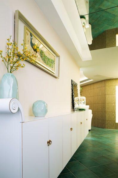 玄关绿色地砖混搭风格装潢设计图片