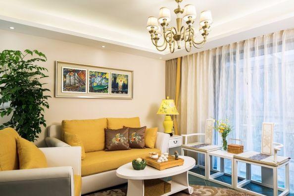 客厅黄色沙发混搭风格效果图