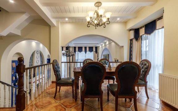 餐厅咖啡色餐桌地中海风格装饰图片
