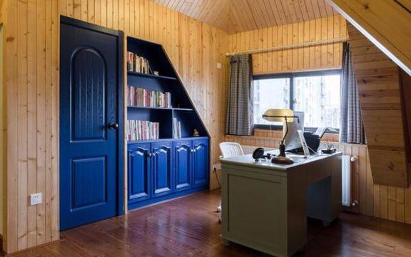 书房绿色书桌地中海风格装潢图片