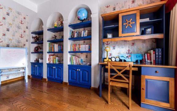 书房彩色窗帘地中海风格装修设计图片