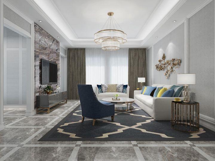 混搭风格108平米三室两厅新房装修效果图
