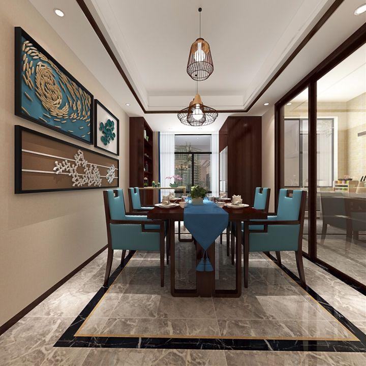 金地酩悦120平方三居室新中式风格装修效果图