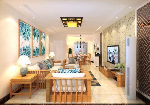 融汇爱都133平三居室中式风格装修效果图