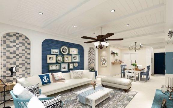 绿都万和城90平地中海风格二居室装修效果图