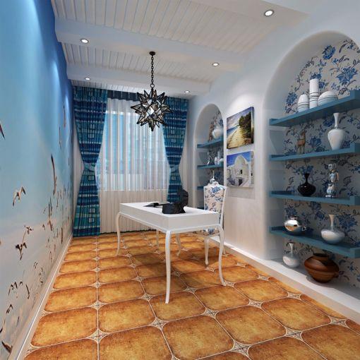 书房书桌地中海风格效果图