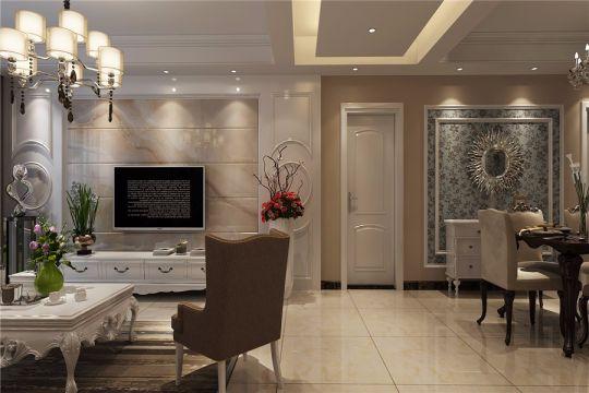 蓝天花园130平简欧风格三居室装修效果图