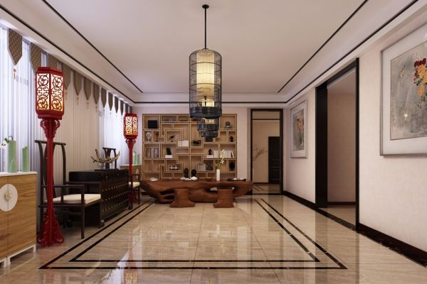 客厅地板砖简约风格装潢图片