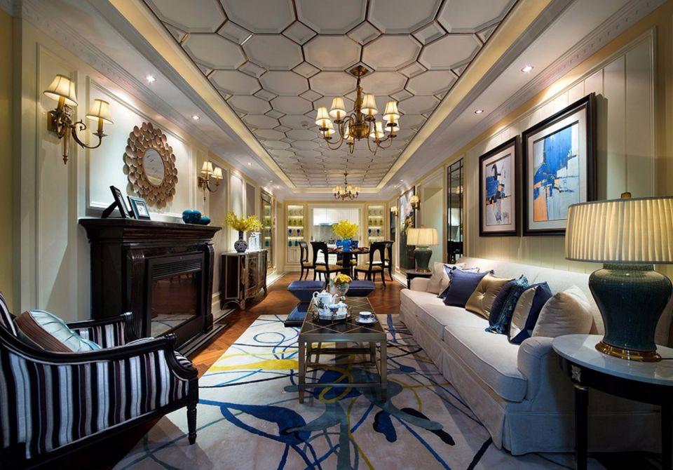 客厅吊顶欧式田园风格装饰效果图