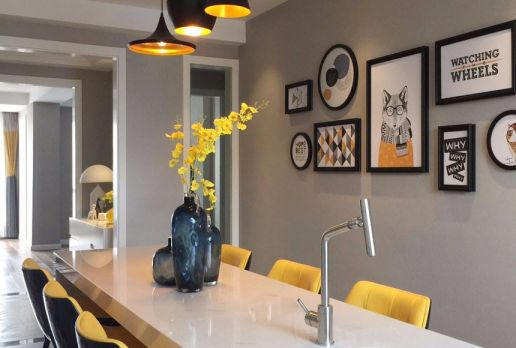 餐厅背景墙混搭风格装修图片