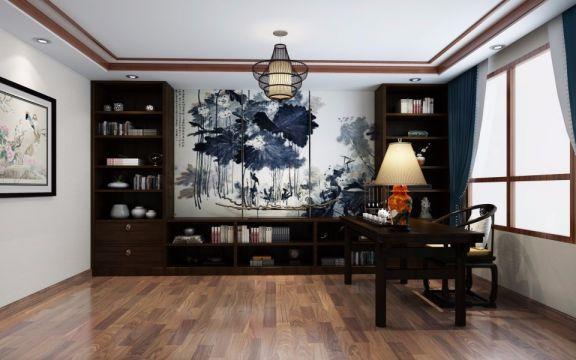 141平新中式风格三居室装修效果图