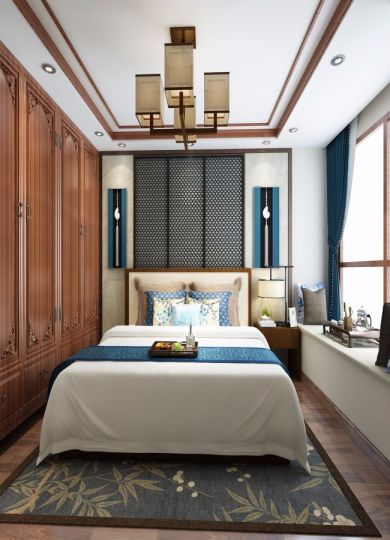 卧室衣柜中式风格装潢效果图