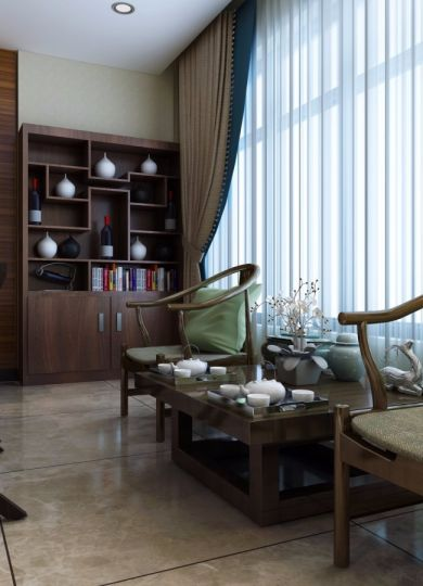 书房书架新中式风格装饰设计图片