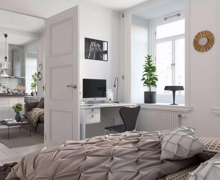 卧室书桌北欧风格装饰设计图片
