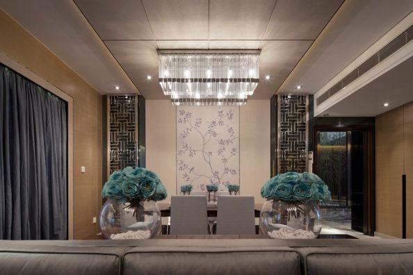 客厅米色吊顶中式风格装修图片