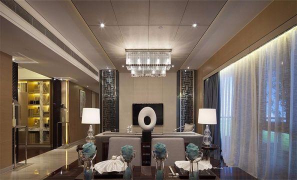 客厅咖啡色餐桌中式风格装潢图片