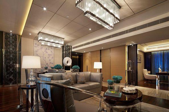客厅黄色灯具中式风格装修设计图片