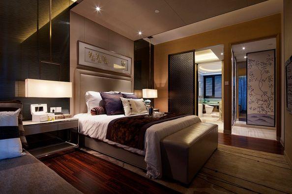 卧室橙色床中式风格装潢设计图片