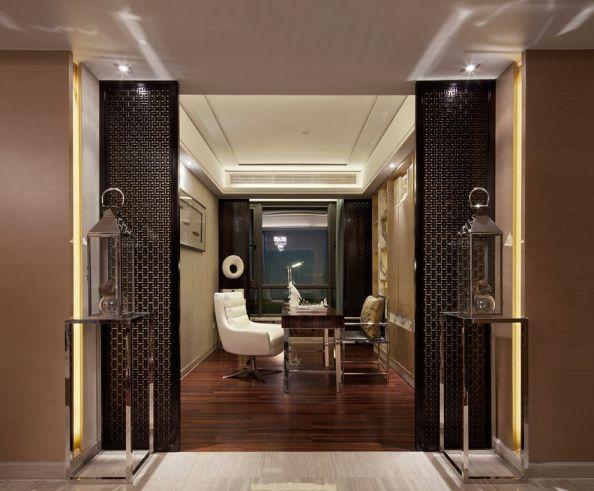 客厅橙色细节中式风格效果图