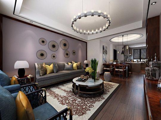 客厅灰色沙发中式风格效果图