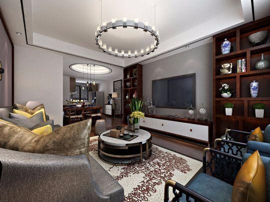 客厅白色电视柜中式风格装修效果图