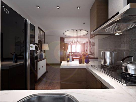 厨房咖啡色橱柜中式风格装潢效果图