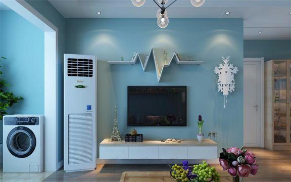 起居室背景墙现代简约风格装潢图片