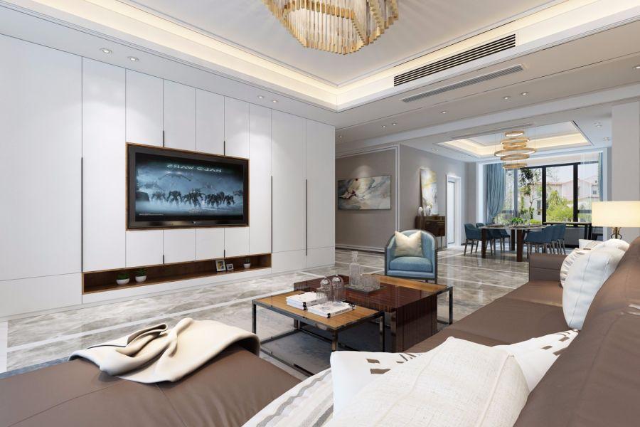 客厅白色背景墙现代简约风格装饰图片