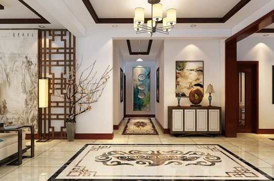 玄关吊顶新中式风格装修设计图片