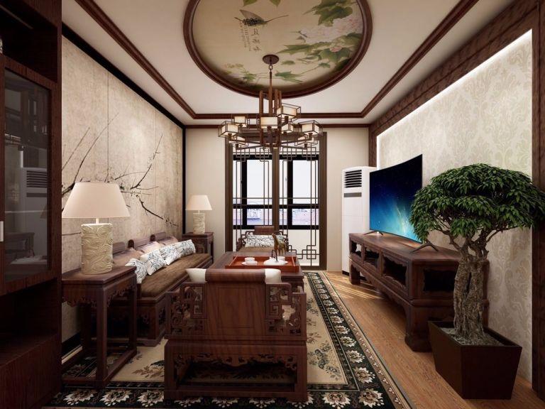 客厅咖啡色沙发新中式风格装修设计图片